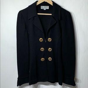 St. John jacket blazer knit anchor buttons black 8